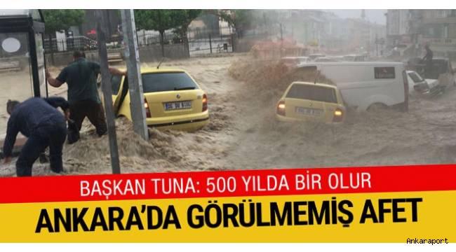 Başkent Ankara şiddetli yağışın ardından adeta sele teslim oldu.