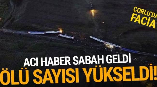 Tekirdağ'ın Çorlu ilçesi yakınlarında raydan çıkarak 5 vagonunun devrilmesi sonucu ölenlerin sayısı 24'e yükseldi.