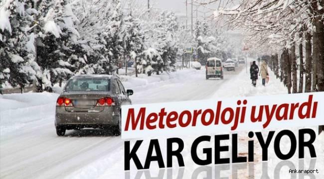 Ankara'da Çarşamba ve Perşembe günleri kar yağışı bekleniyor.