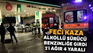 Ankara'da alkollü sürücü benzinliğe girdi: 1'i ağır 4 yaralı