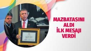 Ankara Büyükşehir Belediye Başkanı seçilen Mansur Yavaş, mazbatasını aldı.