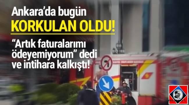 Ankara'da, ekonomik sıkıntıları yüzünden bunalıma giren bir kişi,kendini yakmaya çalıştı