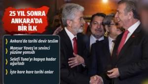 Ankara'da Mansur Yavaş mazbatasını aldı devir teslim töreni de yapıldı.