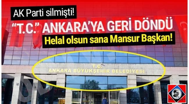 Mansur Yavaş, belediye binasının girişinden AK Partili yönetim sırasında kaldırılan Türkiye Cumhuriyeti'nin kısaltması olan